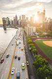 Busy highway in New York with Manhattan