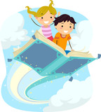 Fototapety Stickman Kids Magical Book Flying