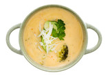 Bowl of tasty cream of broccoli soup