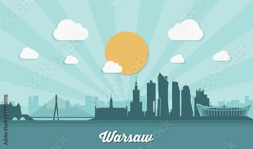 Warsaw skyline - flat design