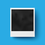 Realistic photo frame with shadow on blue background
