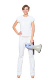 girl in a white dress standing. isolated. full length,  says a megaphone