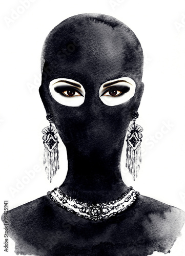 Portrait of beautiful woman with black eyes wearing black mask. watercolor illustration - 99425941