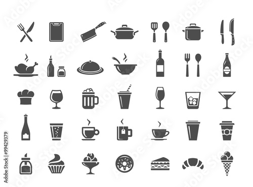 Wall mural Restaurant kitchen icons
