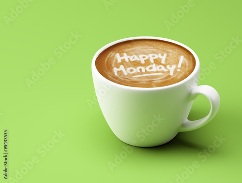 Happy Monday Coffee Cup Concept isolated on green background