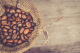 Fototapety top view of coffee bean in sack