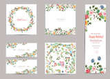 Fototapety collection of greeting cards with cute flora for your design