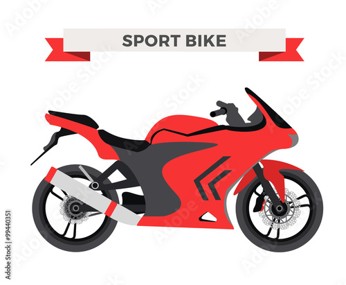 Foto op Plexiglas F1 Vector motorcycle illustration. Moto bike isolated on white background