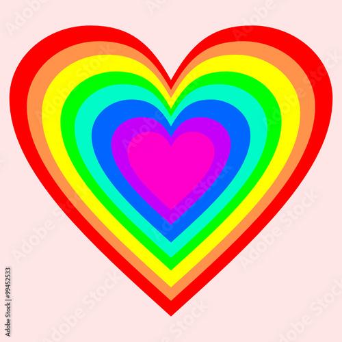 ein gro es herz in regenbogenfarben auf rosa hintergrund stockfotos und lizenzfreie vektoren. Black Bedroom Furniture Sets. Home Design Ideas