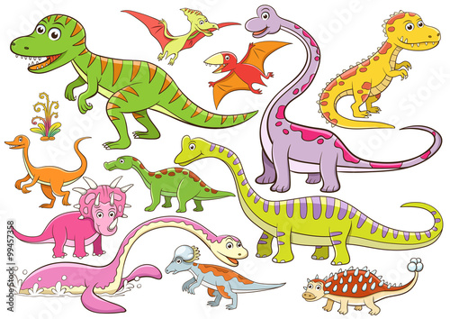 obraz lub plakat illustration of cute dinosaurs cartoon character