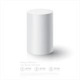 Realistic 3D White Cylinder. Cylinder on white background with r