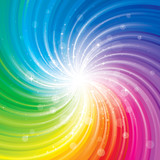 Glittering stars on colorful swirl background.