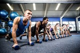 Fitness class in plank position with dumbbells