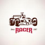 formula racing car emblem, race bolide symbol