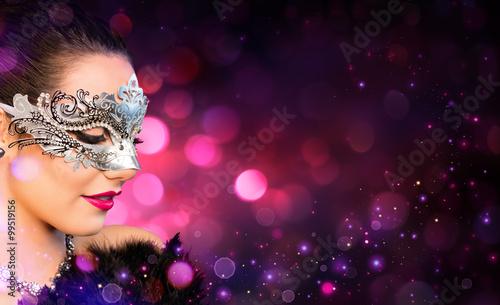 Zdjęcia na płótnie, fototapety, obrazy : Attractive Woman Wearing Carnival Mask