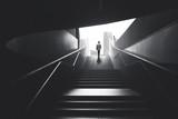 Fototapety Man raising stairs to reach the city
