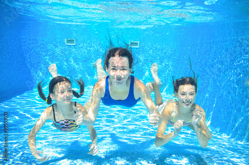 Family swim in pool underwater, happy active mother and children have fun under Poster
