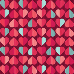 retro seamless valentines day hearts pattern