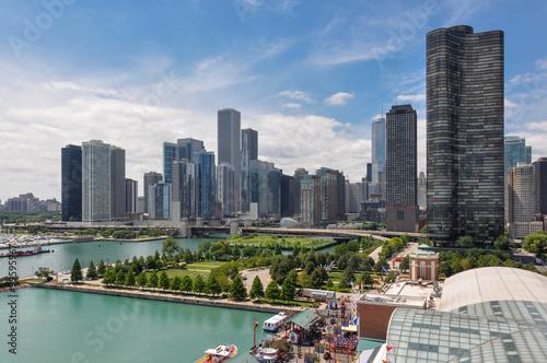 Chicago skyline from Navy Pier, Illinois, USA плакат
