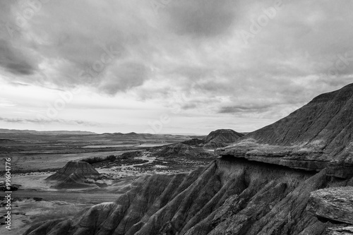 Poster Cloudy day in Bardenas in black and white