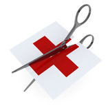 red cross symbol hospital cut by scissor