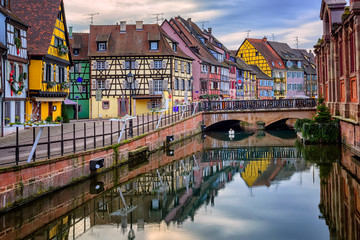 Colorful half-timbered facades in medieval town Colmar, Alsace, France