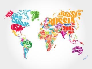 Mapa świata nazwy krajów