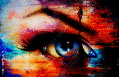 Viking Boat on the beach and woman eye , painting on canvas, Boat with wood dragon. And structure background, red, orange, yellow, black, violet and blue color. Color painting..