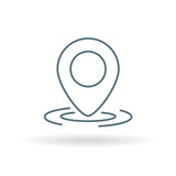 GPS marker icon. Location pointer sign. Coordinate pin symbol. Thin line icon on white background. Vector illustration.