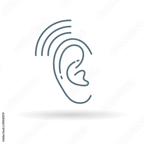 Ear Hearing Aid Icon Volume Increase Sign Ear Hear Symbol Thin