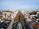 Aerial View of Restauradores Square, Lisbon, Portugal