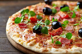 Fototapety Cheese pizza with ham and olives