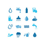 Water blue icons set 4.