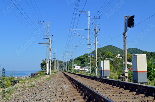 Постер, плакат: Железная дорога идущая вдоль побережья моря, холст на подрамнике