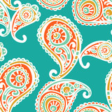 Paisley. Vector seamless illustration. Bright color pattern.