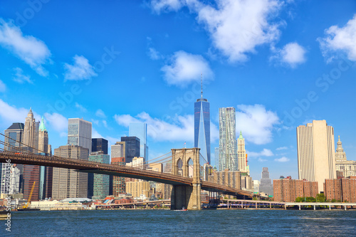 Manhattan skyline with Brooklyn Bridge, New York City, United States