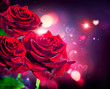 Roses and hearts background. Valentine or wedding card design