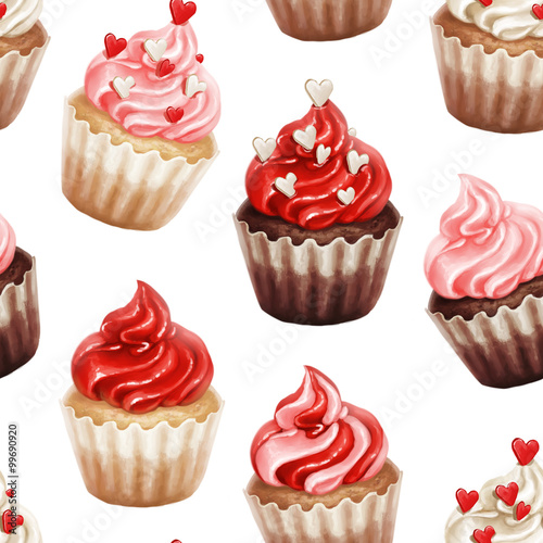 Cotton fabric Valentine cupcakes seamless pattern isolated