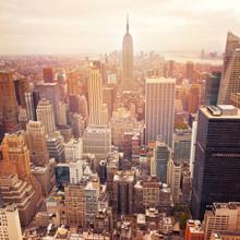 Нью-Йорк горизонта с ретро эффект фильтра, США.