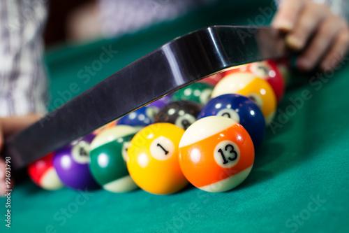 Staande foto Billiard balls in a pool table