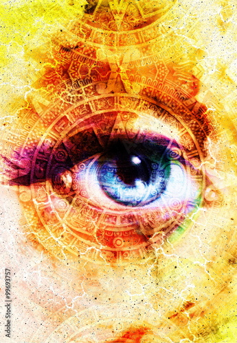 ... Mayan Calendar and woman eye, abstract color Background, computer