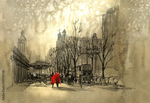 Obraz na Szkle couple in red walking on street of city,freehand sketch