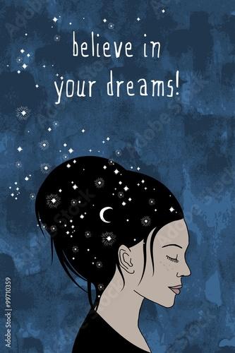 quot-uwierz-w-swoje-marzenia-quot-recznie-rysowane-portret-kobiety-o-ciemnych