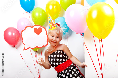 Poster Happy cheerful child with balloons and banners in their hands on the children's