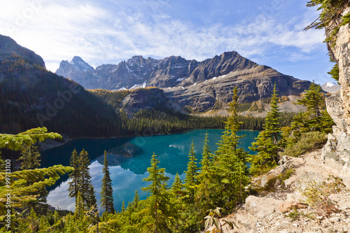 scenic landscape overlooking lake Ohara in Canada's mountain parks