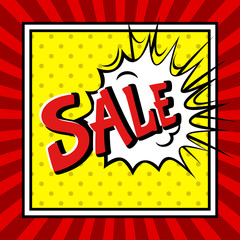 Sale pop art explosion over dotted and burst background.