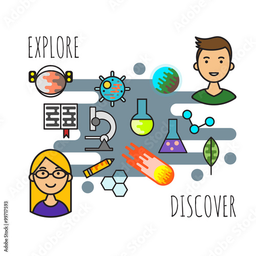 Vector illustration or concept of science explore and discover. © thruer