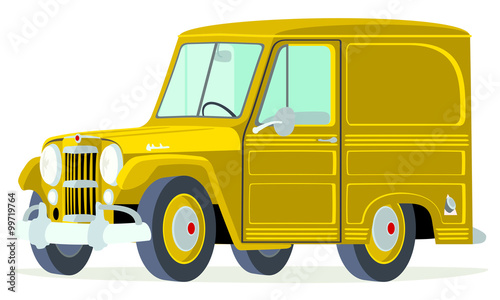 Caricatura Willys Jeep Delivery Panel amarillo vista frontal y lateral