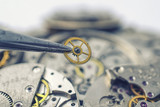 tweezers and detail of mechanical watches