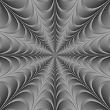 Silver Web / A digital abstract fractal image with a monochrome web design in black and white. - 99733708